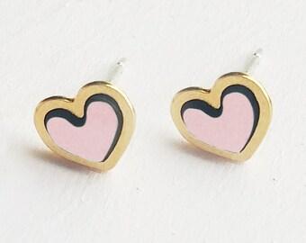 Hearts Studs Earrings, Gold Studs Earrings, Gold Pink Earrings, Delicate Jewelry, Tiny Studs Earrings, Minimalist Earrings, Cute Earrings