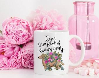 Live Simply Mug - Dachshund Mug, Stylish Planner