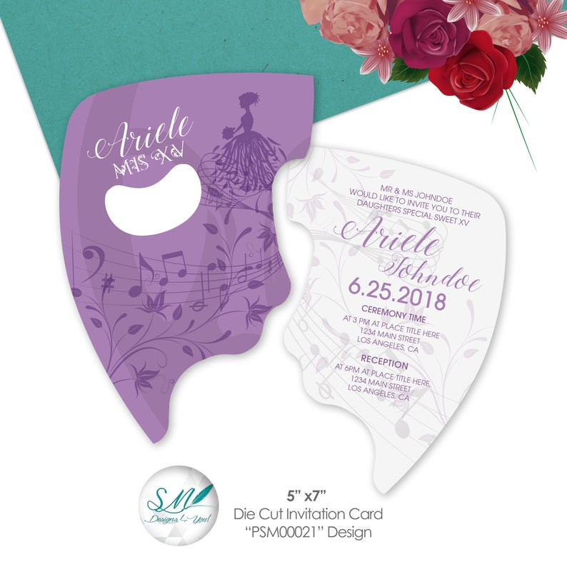 Masquerade Party Invitation Sweet 15 16 Bright Violet Invite Hand Cut