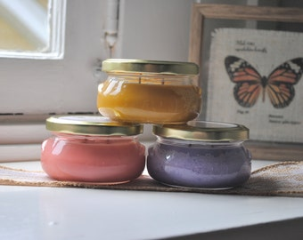 PICK 3 Soy Candles - 6 oz Glass Tureen Jars - Hand-Poured/Strong/Natural