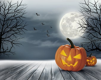 halloween backdrop scary pumpkin face scary scene moon printed fabric photography background g1313