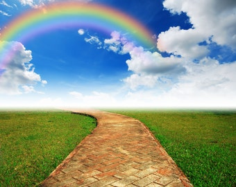 Rainbow Backdrop - yellow brick path, flat green grass land - Printed Fabric Photography Background G0294