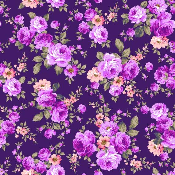 Purple Flower Backdrop Floral Wallpaper Printed Fabric