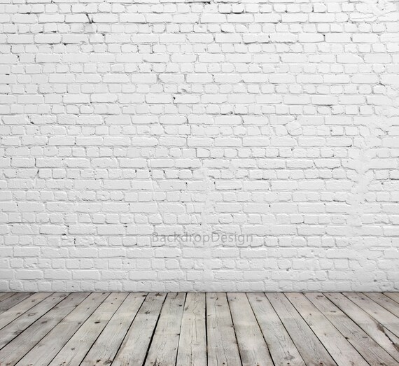 Chic White Brick Backdrop Good White Brick Wall With Wooden Etsy