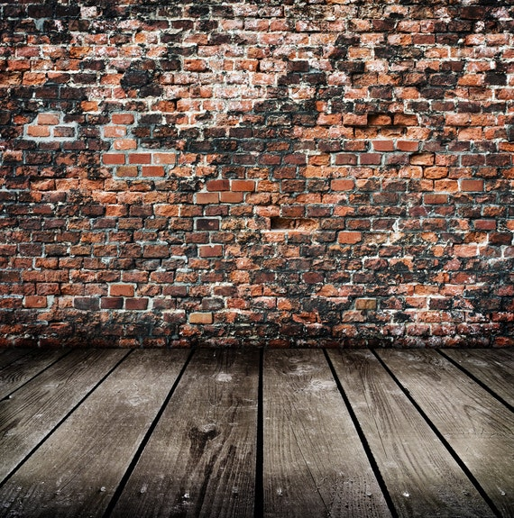 Rustic Brick Backdrop Weathered Red Wall Printed