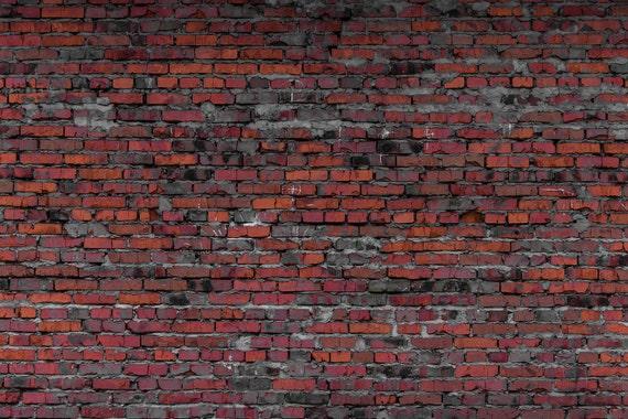 Dark Red Brick Backdrop Old Rustic Brick Wall Printed Etsy