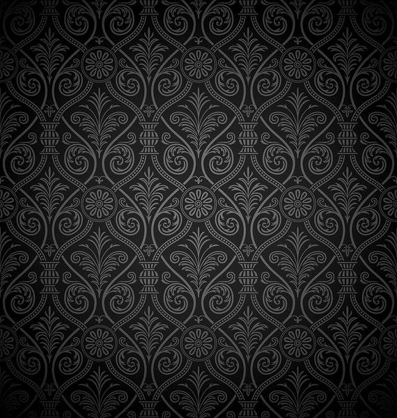 Black Damask Backdrop Dark Damask Wallpaper Printed Backdrop Photography Background G1351