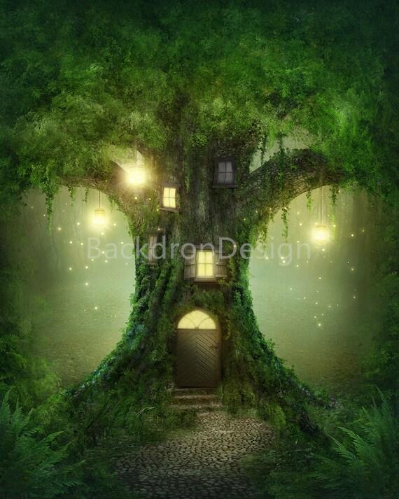 Enchanted Forest Backdrop Lantern Fairy Tale Green Tree