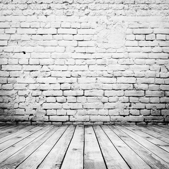White Brick Backdrop White Brick Wall With Wood Floor Etsy