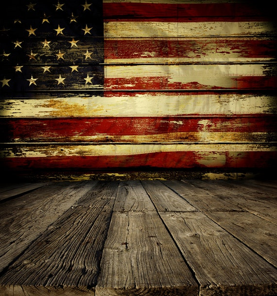 Rustic American Flag Backdrop Patriotic 4th Of July
