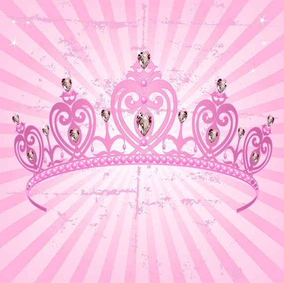 Pink Crown Backdrop Girl S Birthday Party Printed Etsy