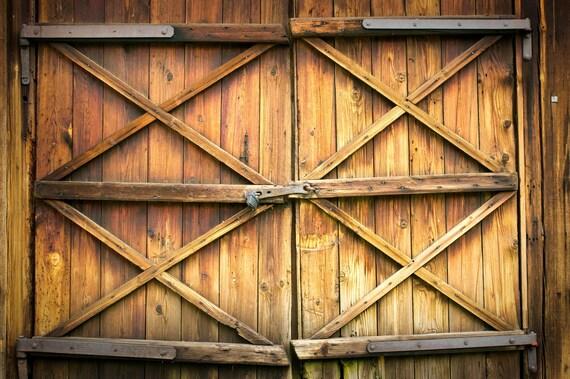 Orange Barn Door Backdrop Grunge Old Wood Door Printed Etsy