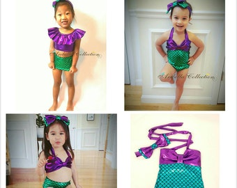 e1cc2856404f3 Mermaid Swimsuit Girls One Piece Two Piece Ruffle Top Bottom Little Mermaid  Costume Bathing Swim Suit Birthday Party Toddler Baby Bikini
