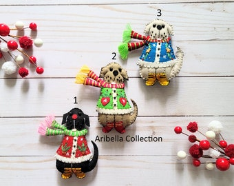 Princess Puppy Christmas Ornament Rapunzel Dog Decoration Fun Carved Wood Ornament made in Indonesia Quirky Cake Topper DIY Craft Supply