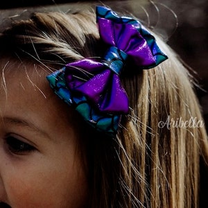Mermaid Bows for Girls Costume Birthday Outfit Little Hair Clip Party Gift Fish Scales 4x2.5 7x3 Inch Green Aqua Iridescent READY TO SHIP