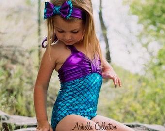 YRD TECH Children Kids Girls Ruffle Bikini Beach One Piece Swimsuit+Headbands Set Outfit