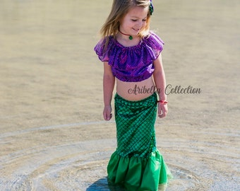 aa4b4723a11 Mermaid Costume Girls Fish Scale Tail Skirt Confetti Dot Crop Top Toddler  Baby Little Birthday Outfit Set Hair Clip Bow READY TO SHIP