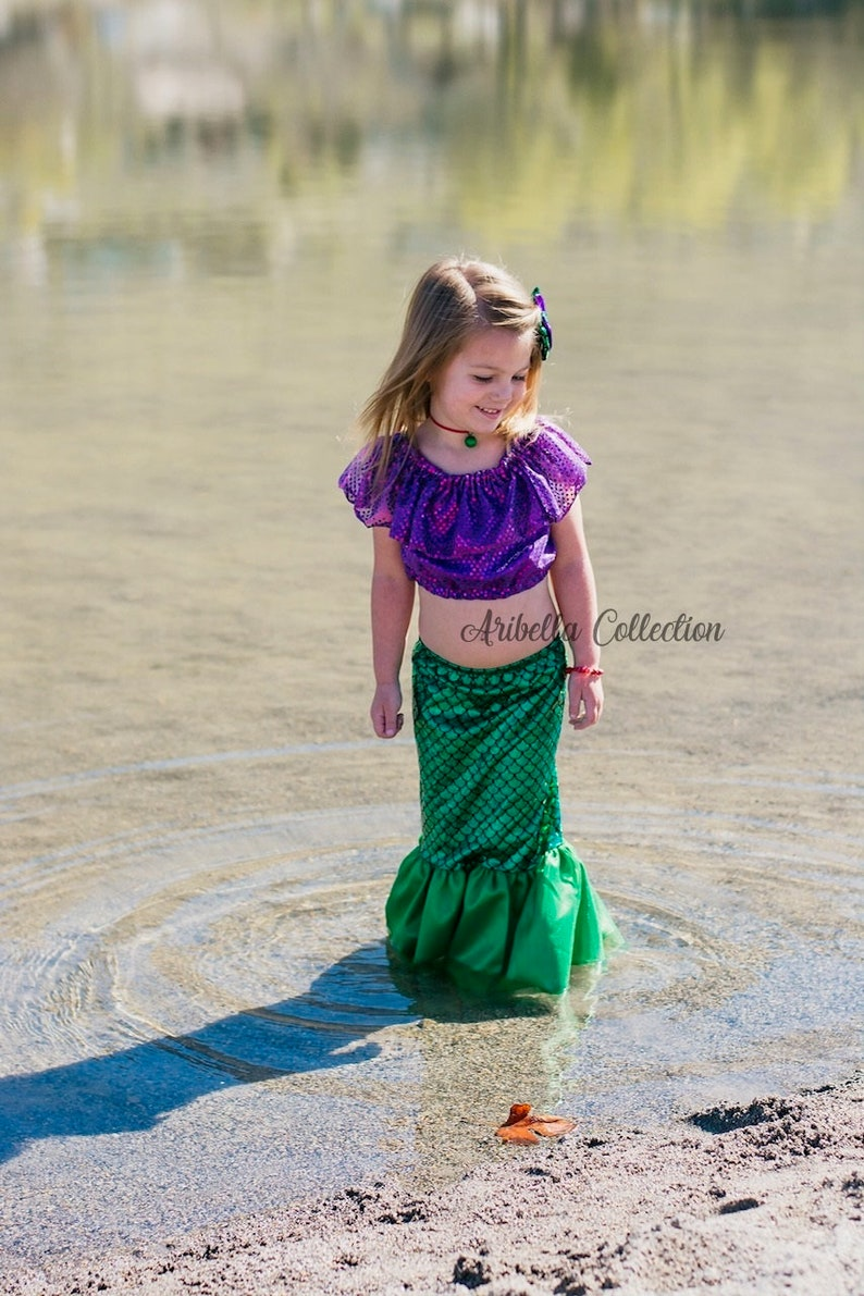 3de5ed20c26 Mermaid Costume Girls Fish Scale Tail Skirt Confetti Dot Crop