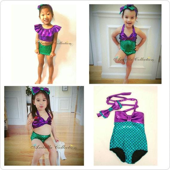 b061988e30 Mermaid Swimsuit Girls One Piece Two Piece Ruffle Top Little