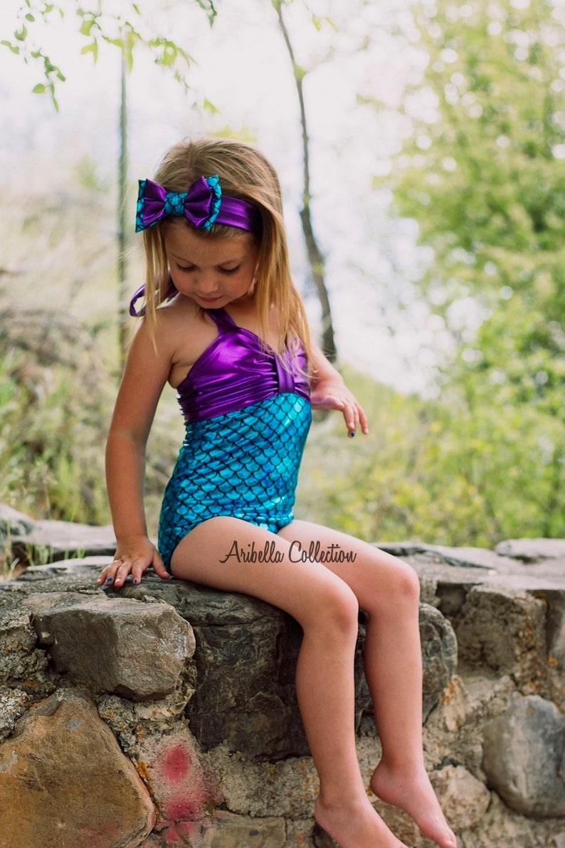 d7750632477ee Mermaid Swimsuit Girls Baby Toddler One Piece Little Bathing | Etsy