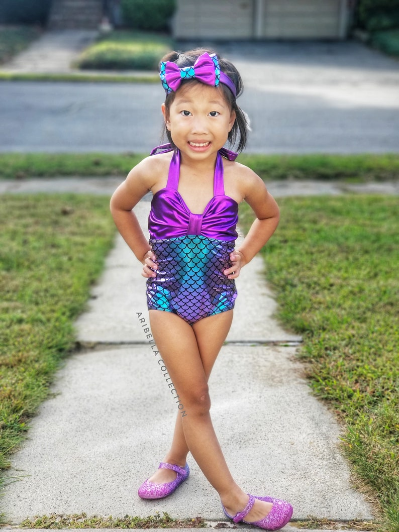 Mermaid Swimsuit Girls One Piece Bathing Suit Costume Birthday Party Outfit Baby Toddler Little Gift Free Headband Bow Christmas Gift RTS