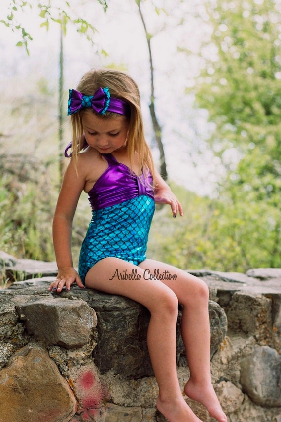 Mermaid Swimsuit Girls Baby Toddler One Piece Little Bathing Suit Birthday Party Outfit Gift Swimwear Mermaids Costume READY TO SHIP
