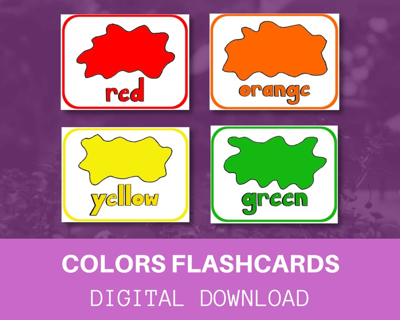 image regarding Colors Flashcards Printable called Colours Flashcards / Electronic Down load / Printable / Immediate Down load / Vocabulary / Educate Your Baby toward Browse