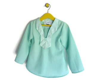 Tunic girl - T 3/5 years - bi-material - cotton - green water color