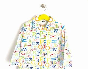"Apron, printed kindergarten/elementary school child ""alphabet"""