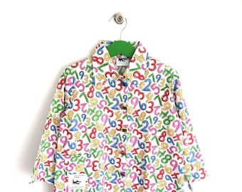 "Printed multicolor school apron ""figure"""