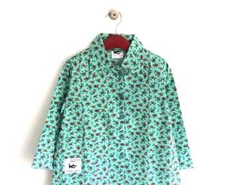 School girl turquoise liberty print apron