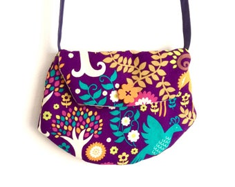 "Bag for little girl style purple printed ""clutch"""
