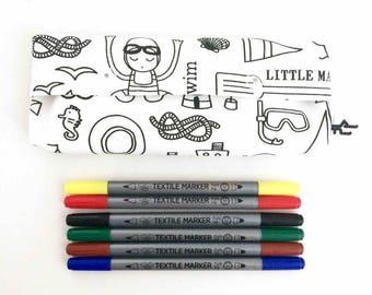 "Kit ""Coloring"" + felts textiles - black & white - pattern ""Beach"""