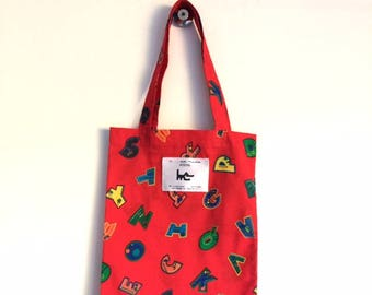 "Tote BAG for child L muse KIDS - red ""alphabet"" print"