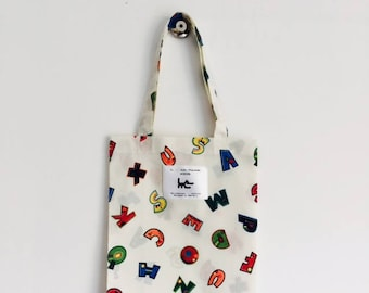 "Tote BAG for child L muse KIDS - ecru ""alphabet"" print"