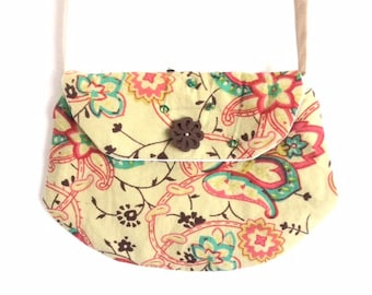 "Girl style ""clutch"" beige FLORAL print bag"