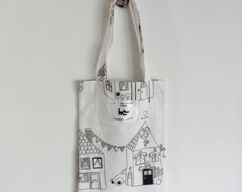 "Tote BAG kids coloring L... his muse KIDS - pattern ""House"""