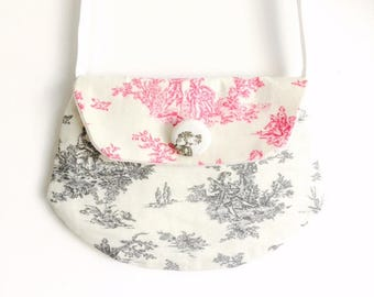 "Bag for little girl ""clutch"" printed market Tote grey/pink"