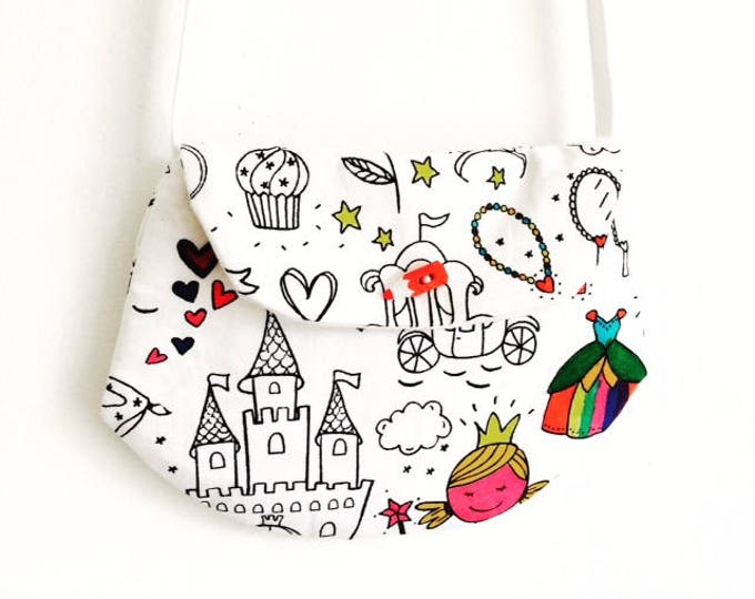 """Featured listing image: Bag for little girl style """"clutch"""" coloring """"Princess"""" pattern"""