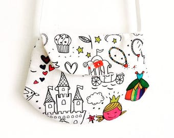 """Bag for little girl style """"clutch"""" coloring """"Princess"""" pattern"""