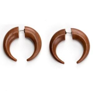 Angel Wing Spiral Fake Gauge Saba Wood Earrings