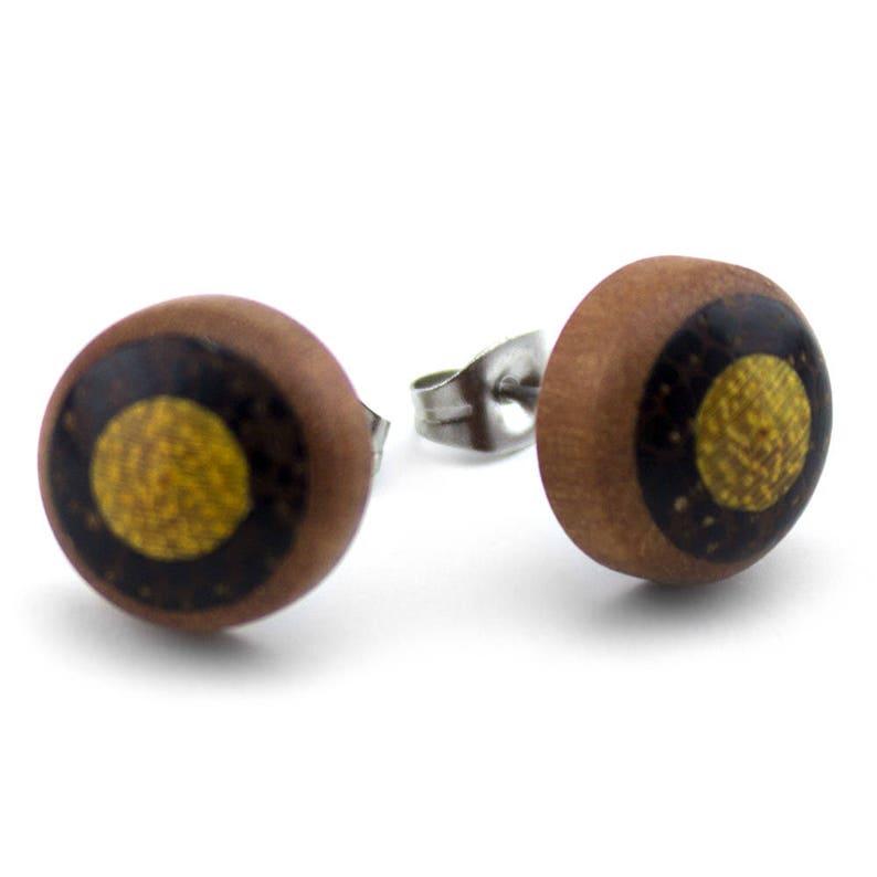 Triple Wooden Organic Earrings