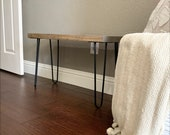 Farmhouse Rustic Entryway Bench 29 1 2 quot High Hairpin Leg Bench, Rustic Modern Side End Sofa Table Nightstand Farmhouse, Mid Century Bench