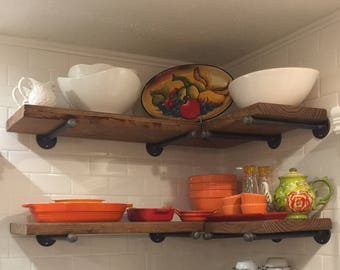 Industrial Floating Shelf With Galvanized Pipe Brackets