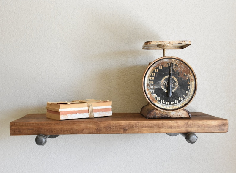 Floating Shelf, Rustic Industrial with pipe brackets, Wood Wall Shelves,  Pipe bracket pine shelf, Farmhouse Rustic Shelves, Modern Farmhouse
