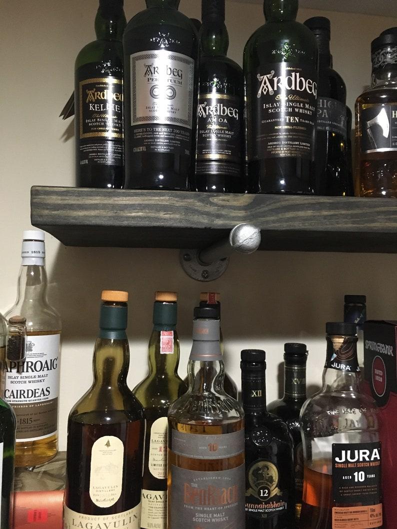 Floating Shelf In Ebony With Galvanized Pipe Brackets Wall Shelf Rustic Shelf Farmhouse Kitchen And Bath Shelve