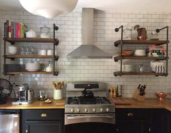 Farmhouse Industrial Rustic Wall Storage Open Shelving