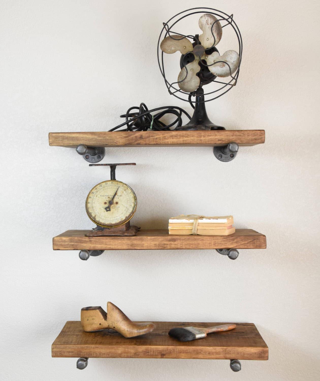 industrial 12 deep floating shelves includes pipe etsy. Black Bedroom Furniture Sets. Home Design Ideas