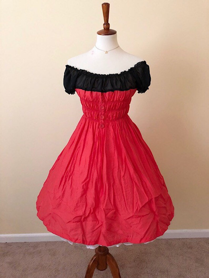 440632f933fe8 Vintage 1950s Style Rockabilly Pinup Peasant Bubble Hem Red Black Full  Skirt Mickey Mouse Disneybound Dapper Day Dress