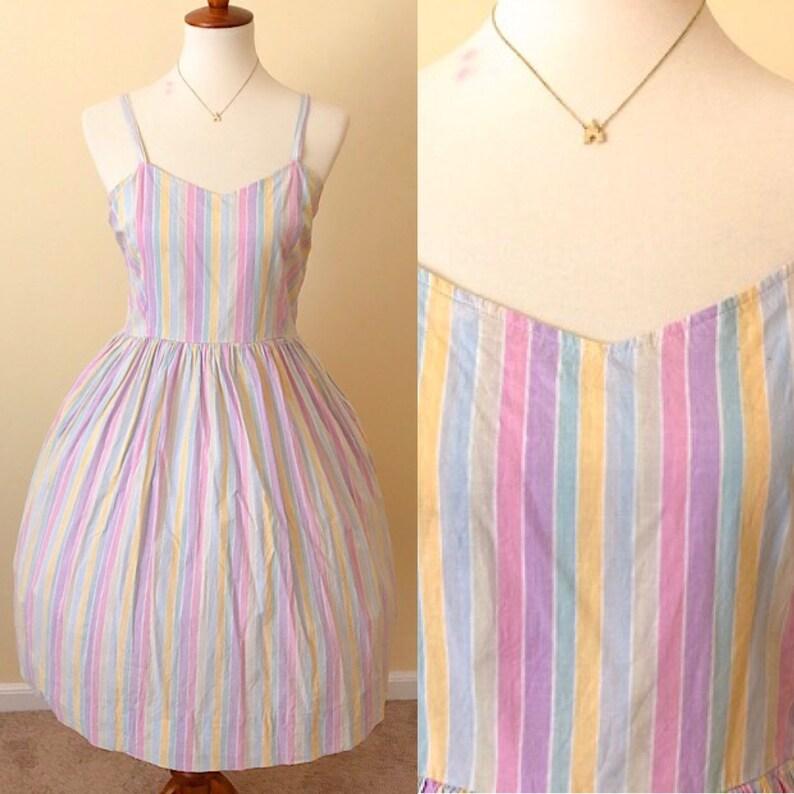 e13e774f0b0ef Vintage 1980s early 90s Laura Ashley Pastel Rainbow Stripe Dapper Day  Disneyland Day Dress Full Skirt Fit & Flare Dress